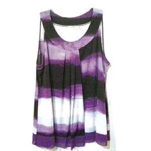 RICKI'S Flowy Purple Sleeveless Top w Pleats XL
